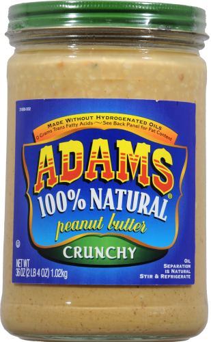 Adam's 100% Natural Crunchy Peanut Butter Perspective: front