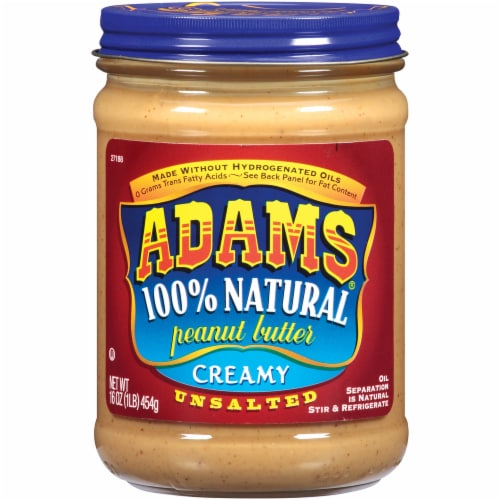 Adam's Unsalted 100% Natural Creamy Peanut Butter Spread Perspective: front