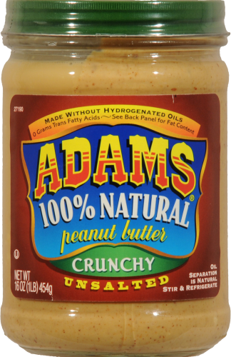 Adams Unsalted 100% Natural Unsalted Crunchy Peanut Butter Perspective: front