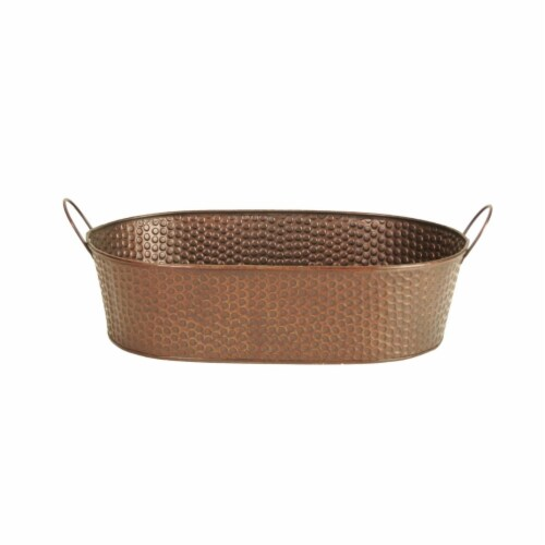 Wald Imports 14 in. Hammered Metal Planter Perspective: front