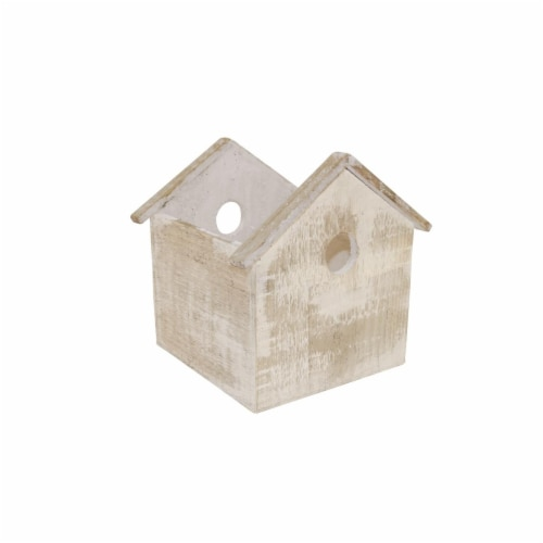 Wald Imports 6 in. Whitewash Wood Birdhouse Planter Perspective: front