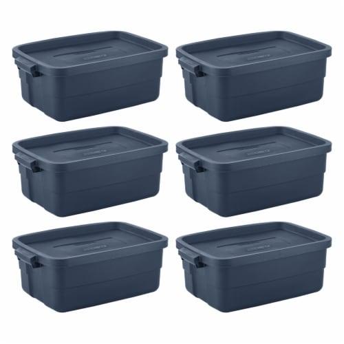 Rubbermaid 10 Gallon Stackable Storage Container, Dark Indigo Metallic (8 Pack) Perspective: front