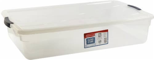 Rubbermaid Clever Store Basic Latch Storage Bin with Lid - Clear Perspective: front