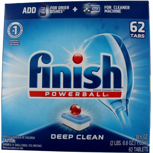 Finish Powerball Dishwasher Tabs - 62 / Box - Red, White, Blue Perspective: front