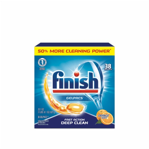 Finish Orange Scent Deep Clean Dishwashing Gelpacs 36 Count Perspective: front