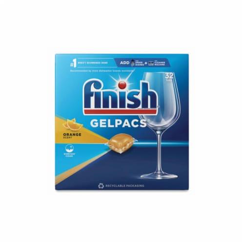 Finish Orange Scent Gelpacs Dishwaher Detergent Perspective: front
