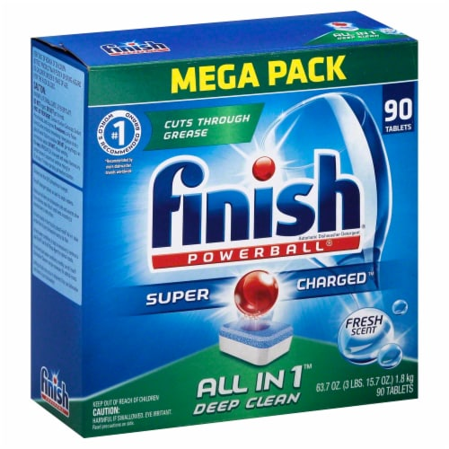 Finish® Powerball All in 1 Fresh Scent Dishwasher Detergent Tablets Perspective: front