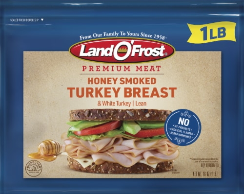 Land O' Frost Premium Honey Smoked Turkey Breast Lunch Meat Perspective: front