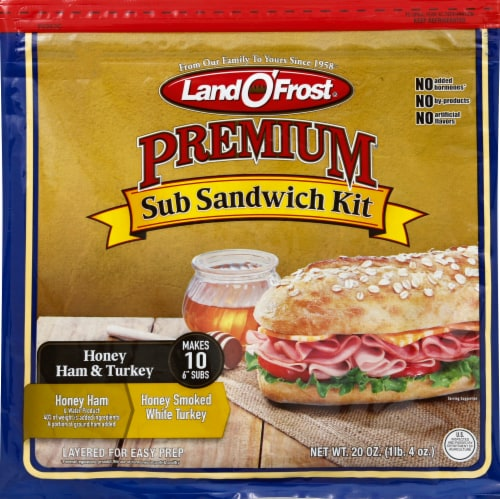 Land O' Frost Honey Ham & Turkey Sub Sandwich Kit Perspective: front