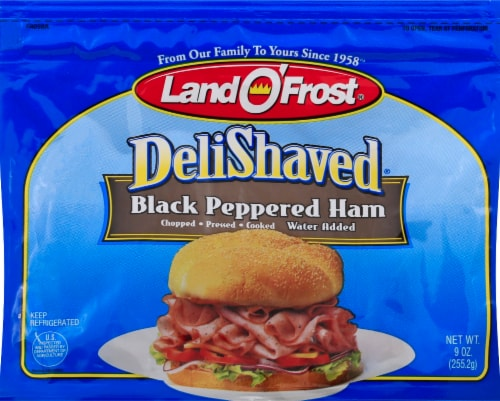 Land O' Frost Deli Shaved Black Peppered Ham Perspective: front
