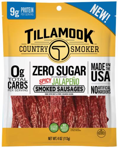 Tillamook Country Smoker Zero Sugar Spicy Jalapeno Smoked Sausage Perspective: front