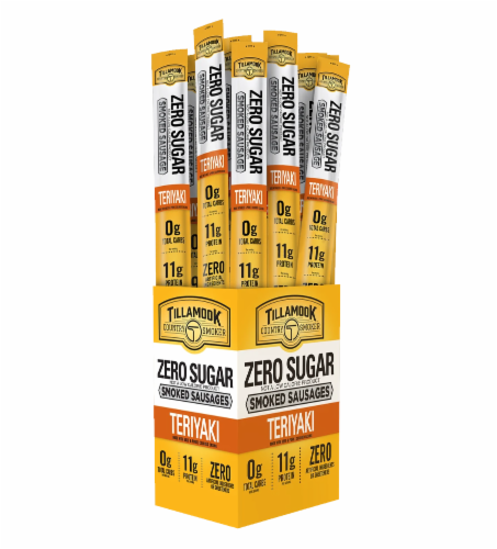 Tillamook Country Smoker Zero Sugar Teriyaki Smoked Sausage Stick Perspective: front