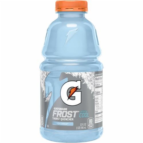 Gatorade Frost Icy Charge Thirst Quencher Electrolyte Enhanced Sports Drink Perspective: front