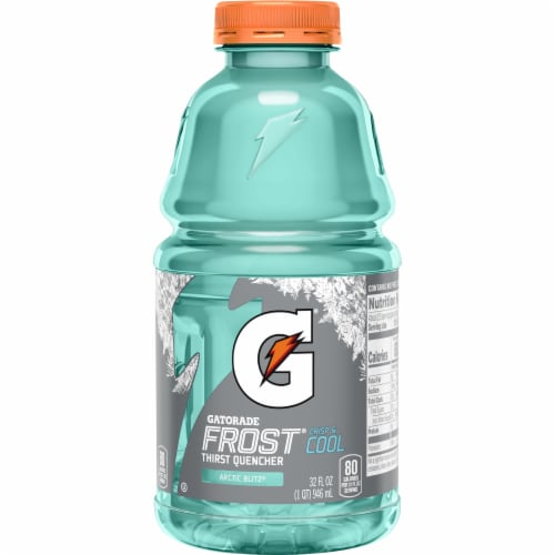 Gatorade Frost Arctic Blitz Thirst Quencher Electrolyte Enhanced Sports Drink 32 oz Bottle Perspective: front