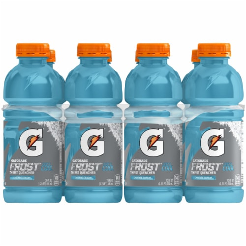 Gatorade Frost Cascade Crash Thirst Quencher Electrolyte Enhanced Sports Drinks Perspective: front