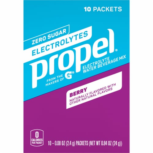 Propel Berry Flavored Enhanced Water Mix with Electrolytes Vitamins C & E Packets Perspective: front