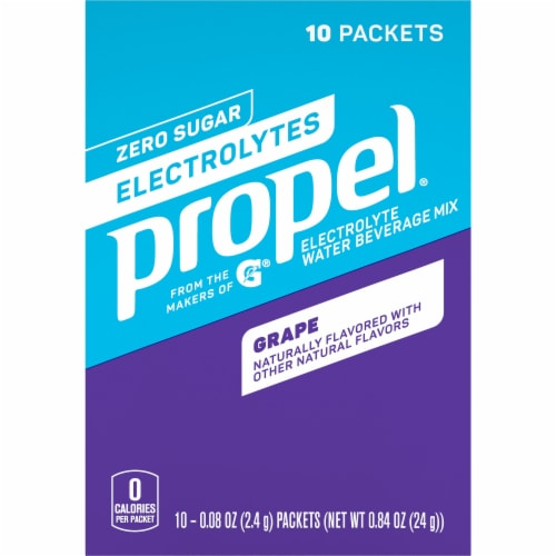 Propel Grape Flavored Enhanced Water Mix with Electrolytes Vitamins C & E Perspective: front