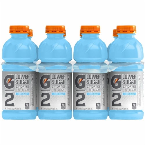 Gatorade G2 Lower Sugar Cool Blue Low Calorie Electrolyte Enhanced Sports Drink Perspective: front