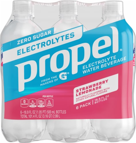 Propel Water Zero Calorie Sports Drinks with Electrolytes Vitamins C & E 6 Pack - Strawberry Lemon Perspective: front