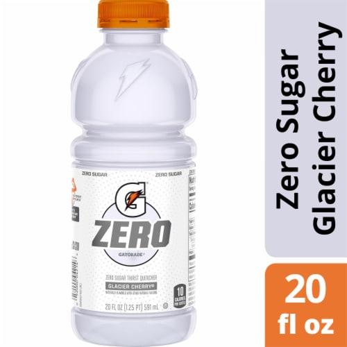 Gatorade G Zero Sugar Glacier Cherry Electrolyte Enhanced Sports Drink 20 oz Bottle Perspective: front