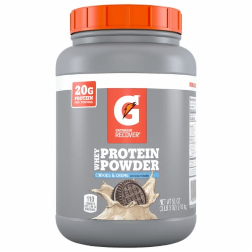 Gatorade Recover Cookies & Creme Whey Protein Powder Perspective: front