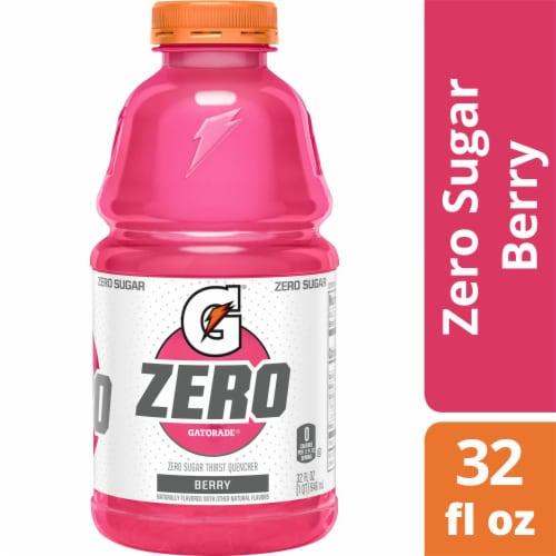 Gatorade G Zero Sugar Berry Electrolyte Enhanced Sports Drink 32 oz Bottle Perspective: front