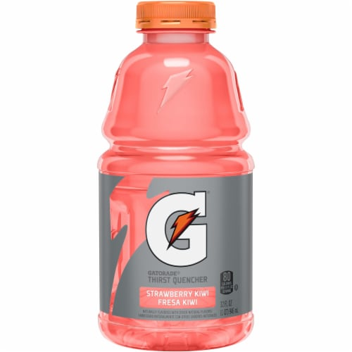 Gatorade Thirst Quencher Strawberry Kiwi Electrolyte Enhanced Sports Drink 32 oz Bottle Perspective: front