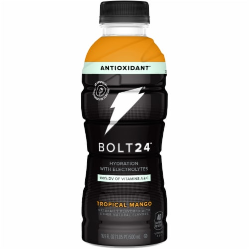 Bolt24 Fueled by Gatorade Tropical Mango Antioxidant Sports Drink Enhanced with Electrolytes Perspective: front
