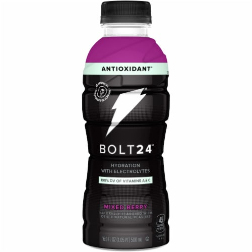 Bolt24 Fueled by Gatorade Mixed Berry Antioxidant Sports Drink Enhanced with Electrolytes Perspective: front