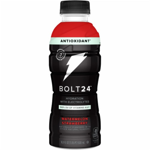 Bolt24 Fueled by Gatorade Watermelon Strawberry Antioxidant Sports Drink Enhanced with Electrolytes Perspective: front