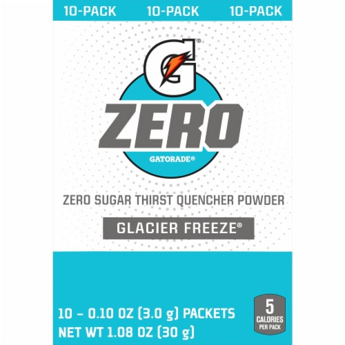 Gatorade Zero Sugar Glacier Freeze Electrolyte Enhanced Sports Drink Mix Perspective: front