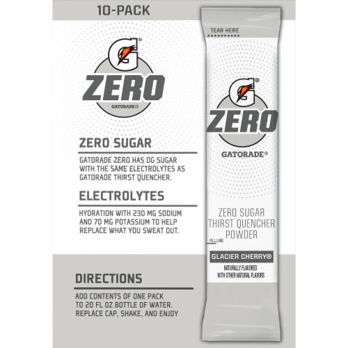 Gatorade Zero Sugar Glacier Cherry Electrolyte Enhanced Sports Drink Mix Perspective: front