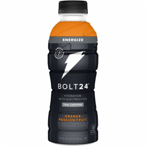 Bolt24 Fueled by Gatorade Passionfruit Antioxidant Sports Drink Enhanced with Electrolytes Perspective: front