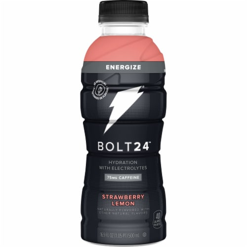 Bolt24 Fueled by Gatorade Energized Strawberry Lemon Sports Drink Enhanced with Electrolytes Perspective: front