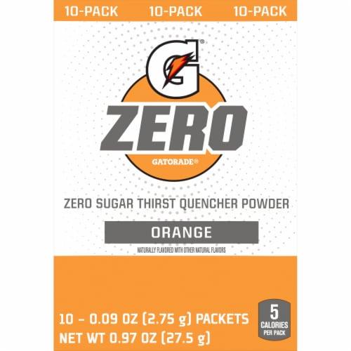 Gatorade Zero Sugar Orange Electrolyte Enhanced Sports Drink Powder Perspective: front