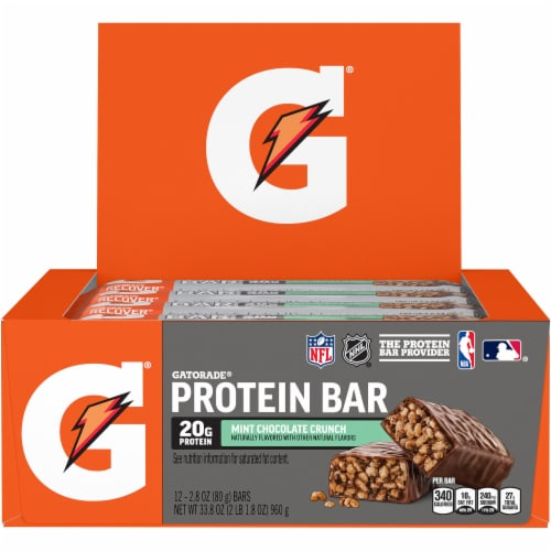 Gatorade Recover Mint Chocolate Crunch Whey Protein Bars Perspective: front