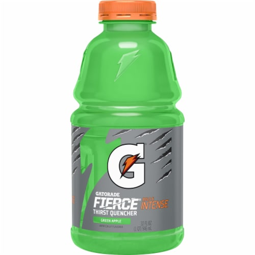 Gatorade Thirst Quencher Fierce Green Apple Electrolyte Enhanced Sports Drink Perspective: front