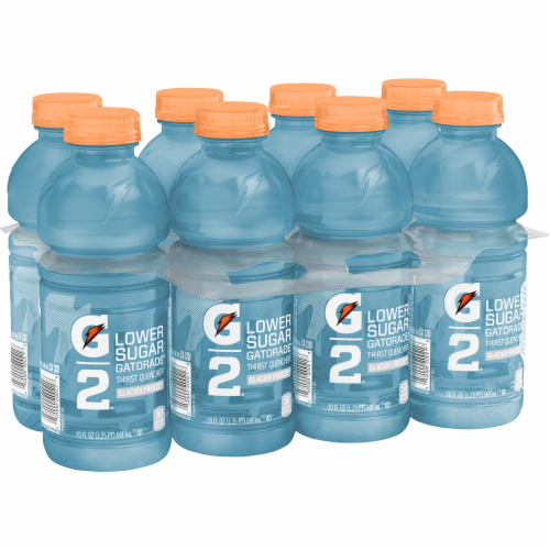 Gatorade G2 Lower Sugar Glacier Freeze Low Calorie Electrolyte Enhanced Sports Drinks - 8 Count Perspective: front