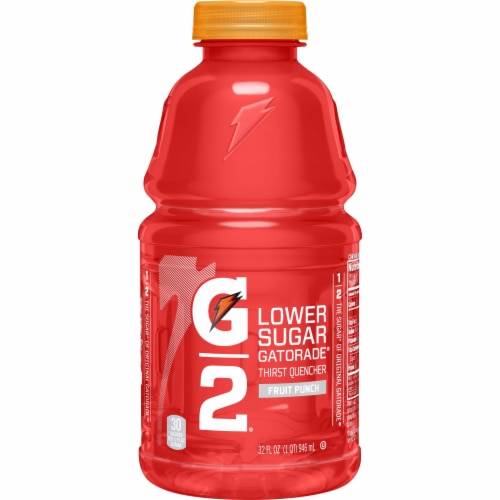 Gatorade G2 Low Sugar Fruit Punch Low Calorie  Electrolyte Enhanced Sports Drink Bottle Perspective: front