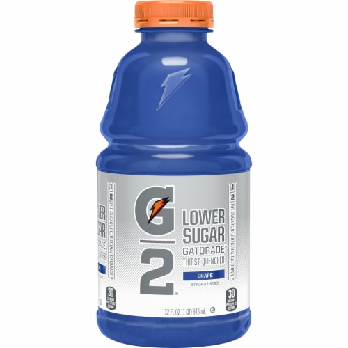 Gatorade G2 Low Sugar Grape Low Calorie Electrolyte Enhanced Sports Drink Bottle Perspective: front