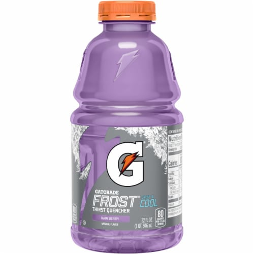 Gatorade Frost Rain Berry Thirst Quencher Electrolyte Enhanced Sports Drink 32 oz Bottle Perspective: front