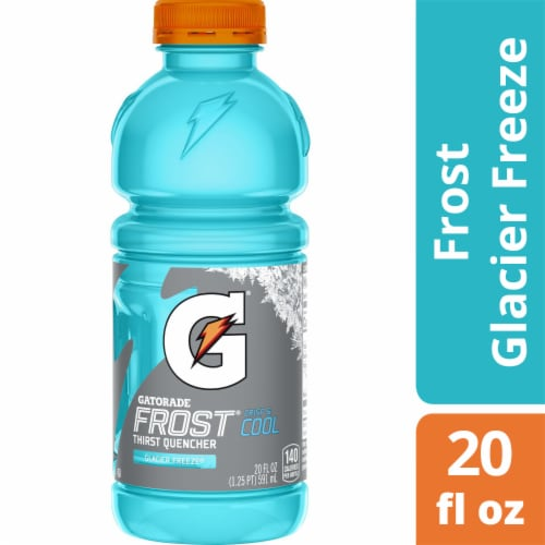 Gatorade Thirst Quencher Frost Glacier Freeze Electrolyte Enhanced Sports Drink 20 oz Bottle Perspective: front