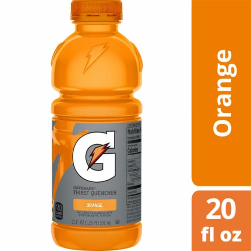 Gatorade Thirst Quencher Orange Electrolyte Enhanced Sports Drink 20 oz Bottle Perspective: front