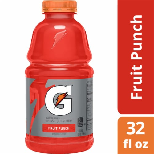 Gatorade Thirst Quencher Fruit Punch Electrolyte Enhanced Sports Drink Perspective: front