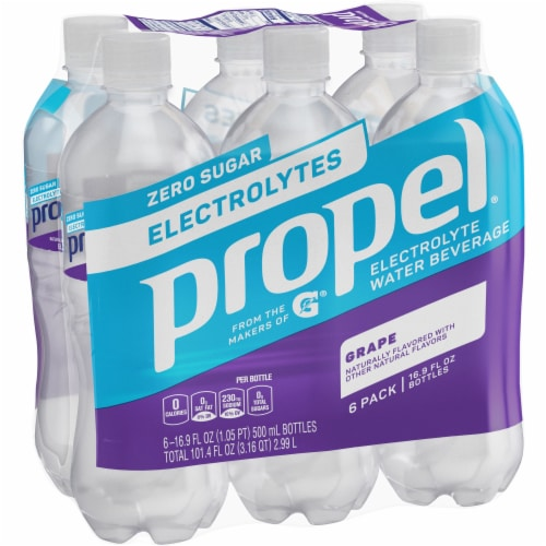 Propel Grape Flavored Water Zero Calorie Sports Drinks Enhanced with Electrolytes Perspective: front