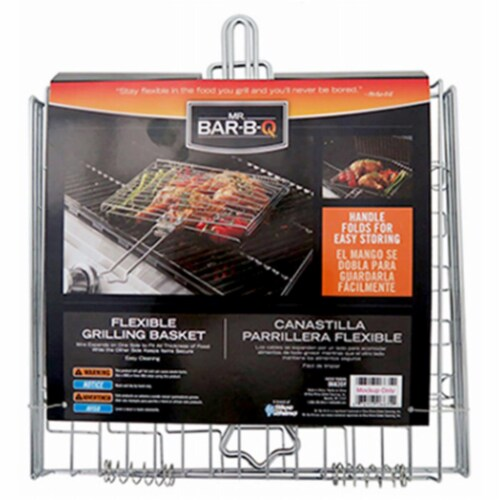 Mr. Bar-B-Q Products LLC. 246405 11 x 10 in. Flexible Grilling Basket  Chrome Perspective: front