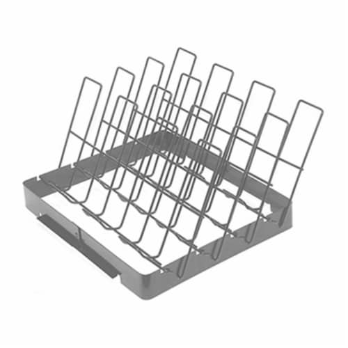 Mr. Bar-B-Q Products 257101 Grill Zone Non-Stick Rib Rack, Brushed Silver Perspective: front