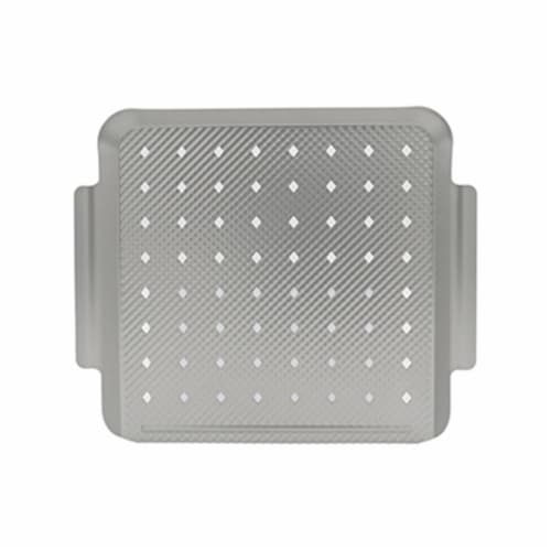 Mr. Bar-B-Q Products 257121 Grill Zone Small Embossed Grill Topper, Brushed Silver Perspective: front