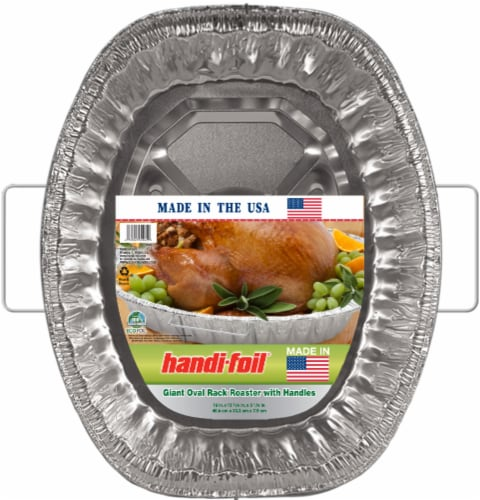 Handi-foil® Eco-Foil® Oval Rack Roaster Pan with Handles - Silver Perspective: front
