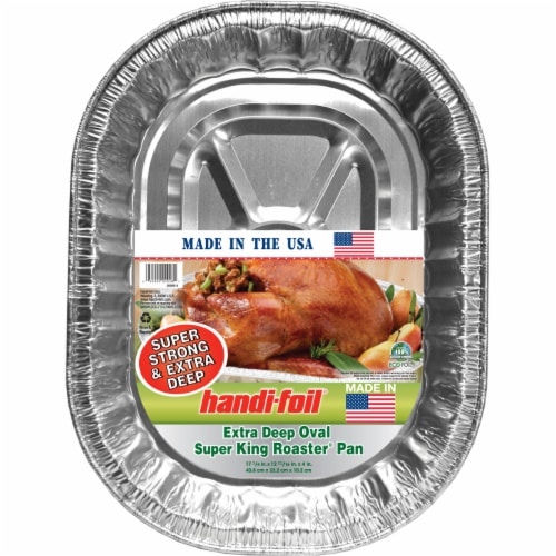 Handi-foil® Super King Roaster Extra Deep Oval Pan - Silver Perspective: front